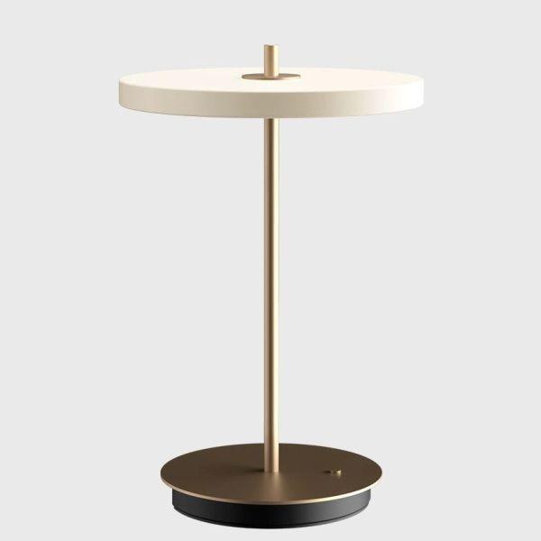 Lampa stołowa Asteria Move - bezprzewodowa, perłowa biel