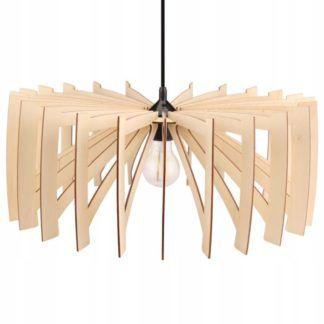 Lampa wisząca Farum - drewniany klosz, boho
