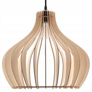 Lampa wisząca Horten - drewniany klosz, boho