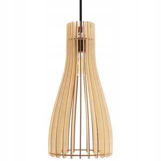 Lampa wisząca Koge - drewniana, smukły klosz