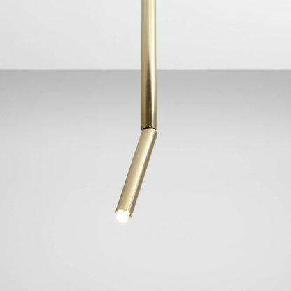 złota lampa wisząca wąska tuba