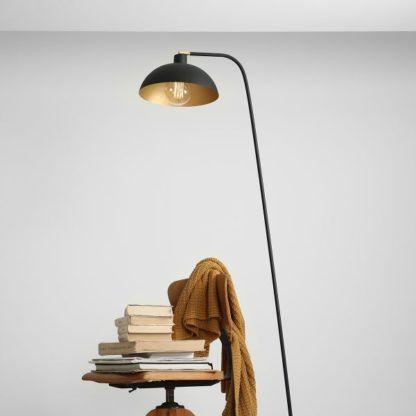Czarna lampa podłogowa Espace - regulowany klosz