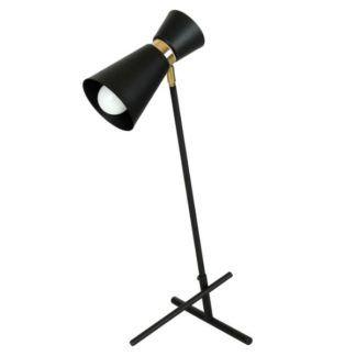 Czarna lampa biurkowa Kedar - złote detale, regulowana