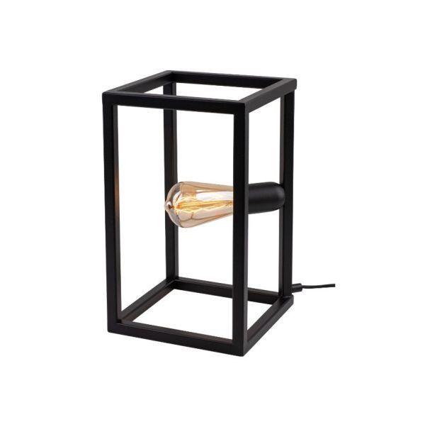 czarna geometryczna lampa stołowa