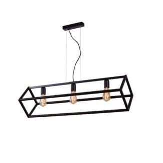 Podłużna lampa wisząca Cube  - czarna, 3 punkty