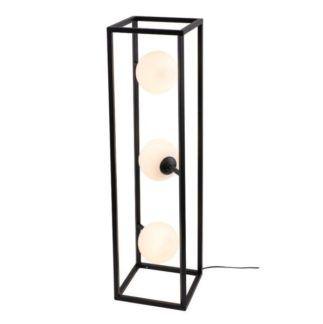 Czarna lampa podłogowa Cube Glass - geometryczna