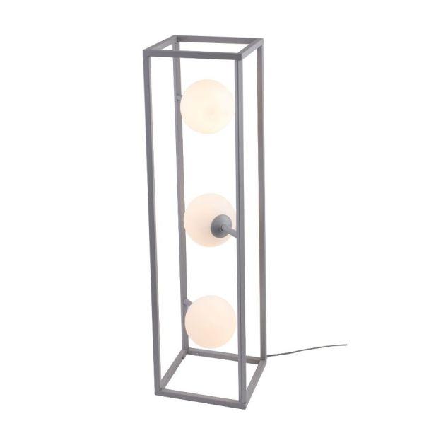 geometryczna lampa podłogowa szara
