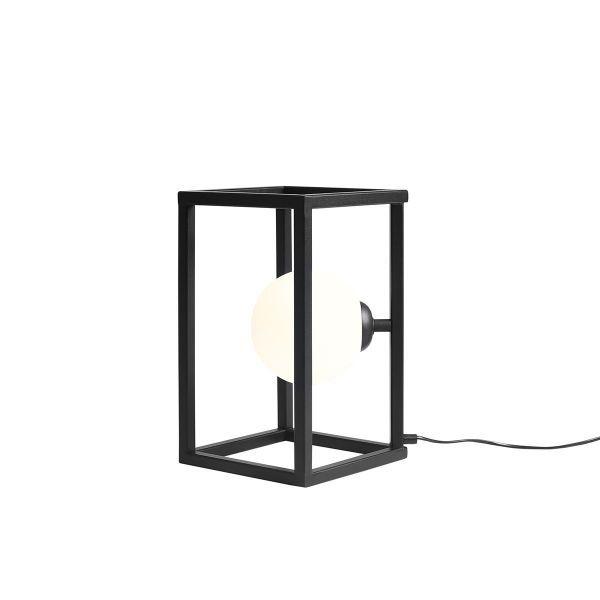 czarna lampka biurkowa sześcian