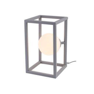 Szara lampa stołowa Cube Glass - mleczna kula