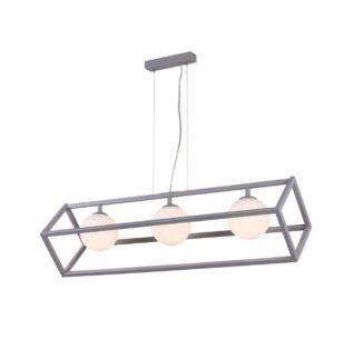 Szara lampa wisząca Cube Glass - podłużna, szklane klosze
