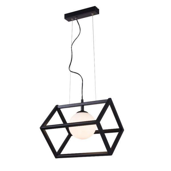 czarna lampa wisząca szklany klosz