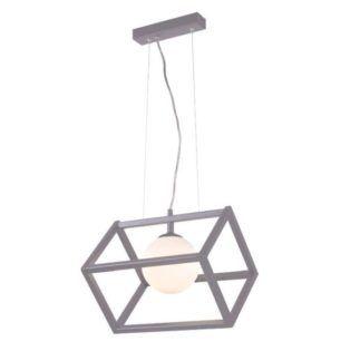 Szara lampa wisząca Cube Glass - szklana kula