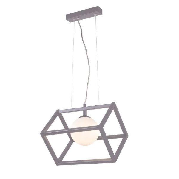 szara lampa wisząca szklany klosz
