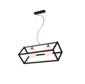 Czarna lampa wisząca Cube Glass - 2 mleczne klosze
