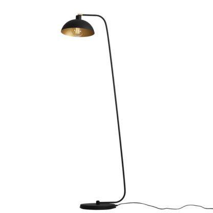 czarna lampa podłogowa duży klosz