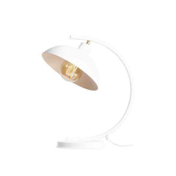 biała lampa biurkowa łuk