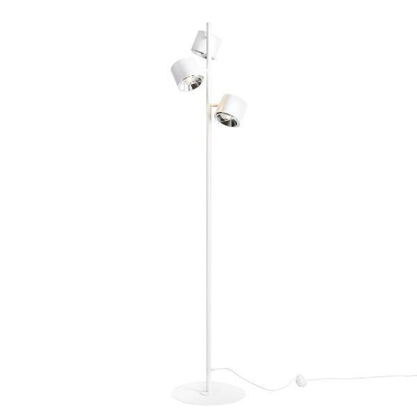 biała lampa podłogowa z trzema kloszami