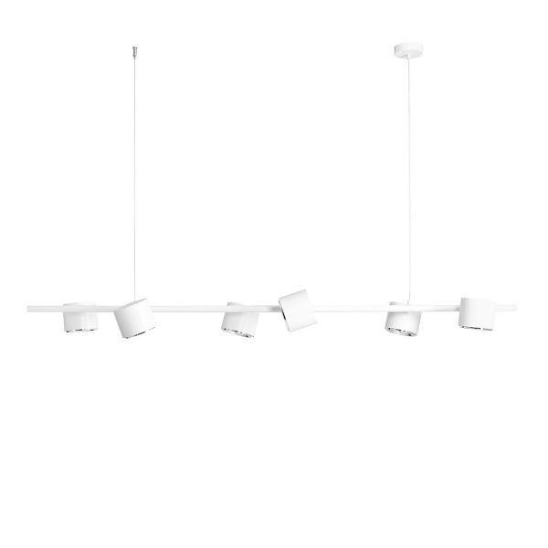 biała lampa wisząca na listwie regulowana