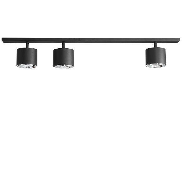 czarna lampa sufitowa ze spotami