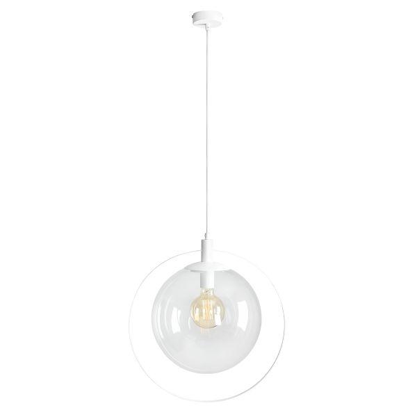 lampa wisząca kula w metalowym okręgu