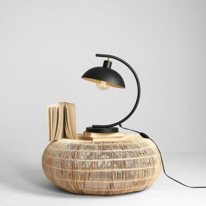 Czarna lampa stołowa Espace  - zaokrąglona