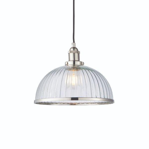 szklana lampa wisząca do industrialnej kuchni