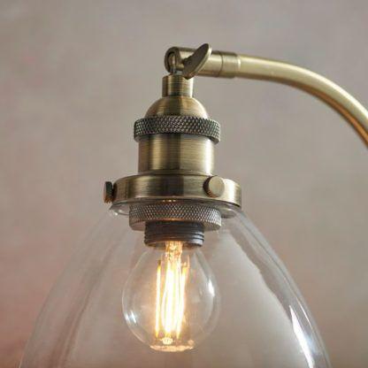złota lampa z regulacją klosza