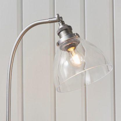srebrna lampa stołowa regulowany klosz