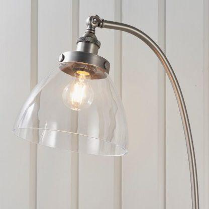 srebrna lampa podłogowa szklany regulowany klosz