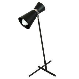 Nowoczesna lampa biurkowa Kedar - czarna, srebrne elementy