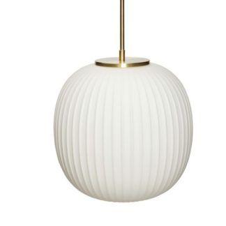 Biała lampa wisząca Sohest S - prążkowane szkło
