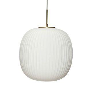 Szklana lampa wisząca Sohest L - biały, prążkowany klosz