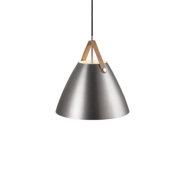 srebrna lampa wisząca w połysku