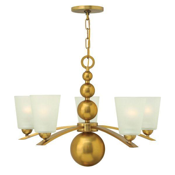 klasyczny złoty żyrandol ze szklanymi kielichami