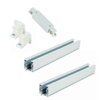Biały zestaw szynowy Light Prestige - 4m, 3-fazowy, zasilanie środkowe