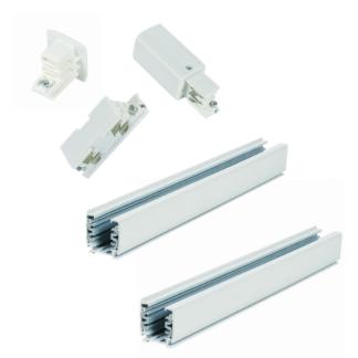 Biały zestaw szynowy Light Prestige - 4m, 3-fazowy, zasilanie końcowe