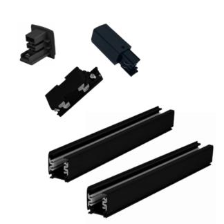 Czarny zestaw szynowy Light Prestige - 4m, 3-fazowy, zasilanie końcowe