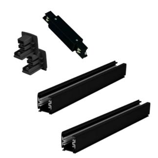 Czarny zestaw szynowy Light Prestige - 4m, 3-fazowy, zasilanie środkowe