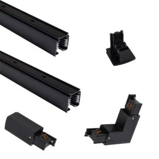 """Czarny system szynowy CTLS """"L"""" - 2+2m, 3-fazowy, zasilanie końcowe"""