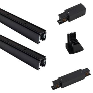 Czarny system szynowy CTLS - 3m, 3-fazowy, zasilanie końcowe