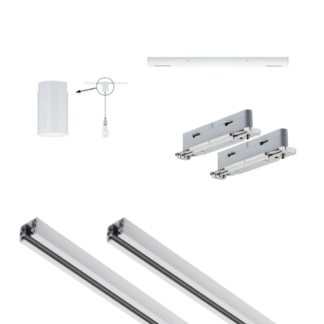 Biały system bazowy Urail - 3m, zasilanie środkowe + adapter