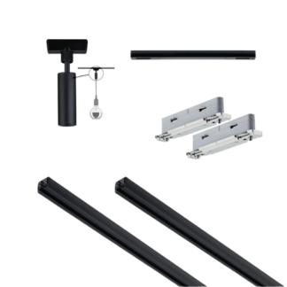Czarny system bazowy Urail - 3m, zasilanie środkowe + adapter