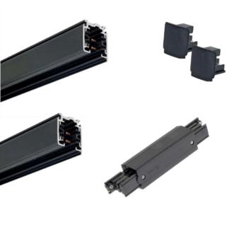 Czarny system szynowy Profile Shilo - 3m, zasilanie środkowe