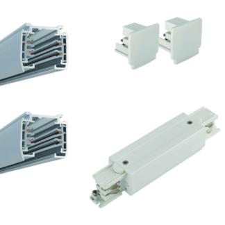 Biały system szynowy Profile Shilo - 3m, zasilanie środkowe