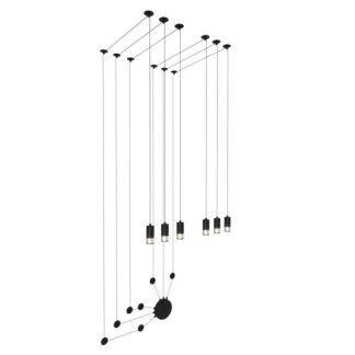 Lampa ścienna Linea 6 - czarna, długie przewody