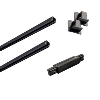 Czarny zestaw szynowy Eutrac - 3m, zasilanie środkowe