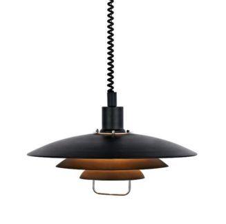 Czarna lampa wisząca Kirkenes - regulowane zawieszenie