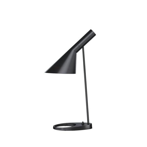 czarna lampa biurkowa z regulowanym kloszem