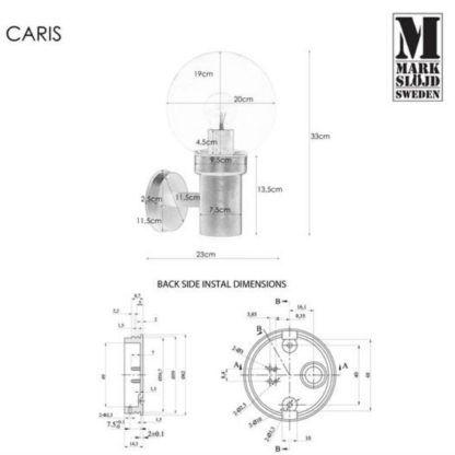 Czarny kinkiet elewacyjny Caris - szklany klosz, IP44