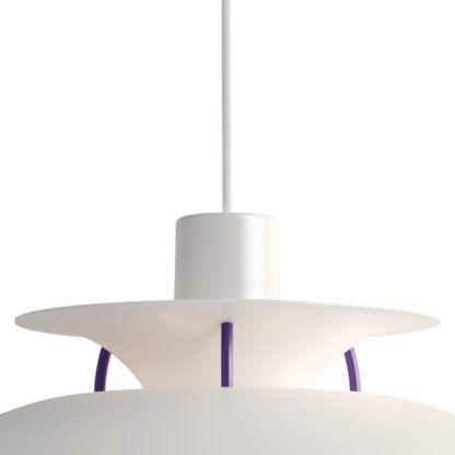 nowoczesna biało-fioletowa lampa wisząca